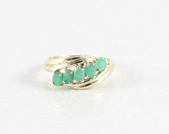 10k Yellow Gold Natural Emerald Ring Band Size 8