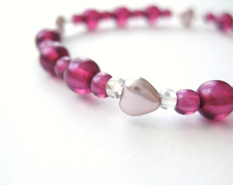Girls Bracelet, Pink, Dark Pink Beads with Pealry Hearts, Large Bracelet, GBL 163