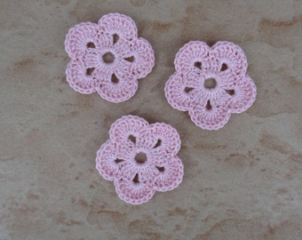 set of 3 pink flower 5 petals crochet