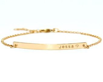 Personalized Bar Bracelet with CZ, Engraved Bracelet, Roman numerals Custom Name Gold Bar Bracelet Nameplate, Graduation gift bracelet.