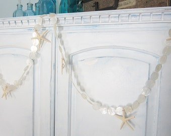Beach Decor White Capiz Shell Garland w White Starfish - Nautical Starfish Garland w White Capiz Seashells --- Approx. 6 FT
