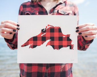 Plaid Lake Superior - handmade screen print