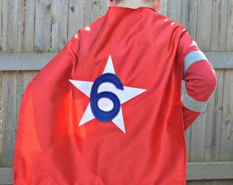 Kids Super Hero Cape - Super Hero Cape Personalized with Shape and NUMBER - Super Hero Party Favor - Custom Super Hero Cape