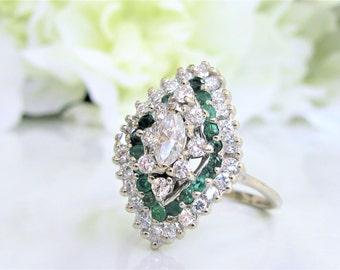 Vintage Marquise Diamond Engagement Ring 14K White Gold Diamond Wedding Ring Unique 1.21ctw Diamond Halo Style Alternative Engagement Ring