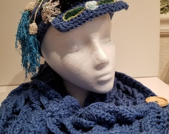 Blue Russian ski, snowboard or chemo cap/hat with matching cowl.