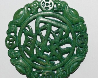 Carved Big Green Jade Pendant 66mm