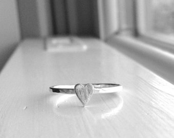 Skinny Heart Ring, Sterling Silver Heart Ring, Stacking Rings, Sterling Silver Stacking Ring, Stackable Rings