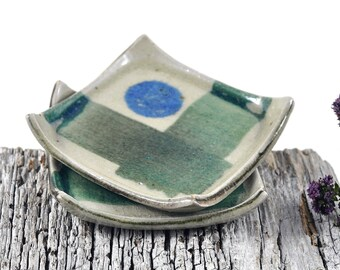 Square Dishes Handmade Pottery Ceramic Tableware Handpainted Rustic Decor Condiments Candles Trinkets - Set of Two