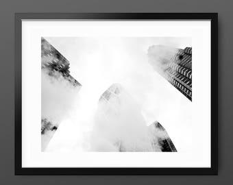 Black and White New York Fog Architecture Art Print, geometric minimal photography, monochrome 'Skyscraper Clouds' wall decor