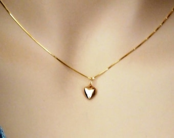 Gold Heart Necklace, Tiny Solid 14k Gold Heart Necklace, 14k Gold Minimalist Puffed Heart Pendant, Puff Heart Solid Gold 14k Gold Heart