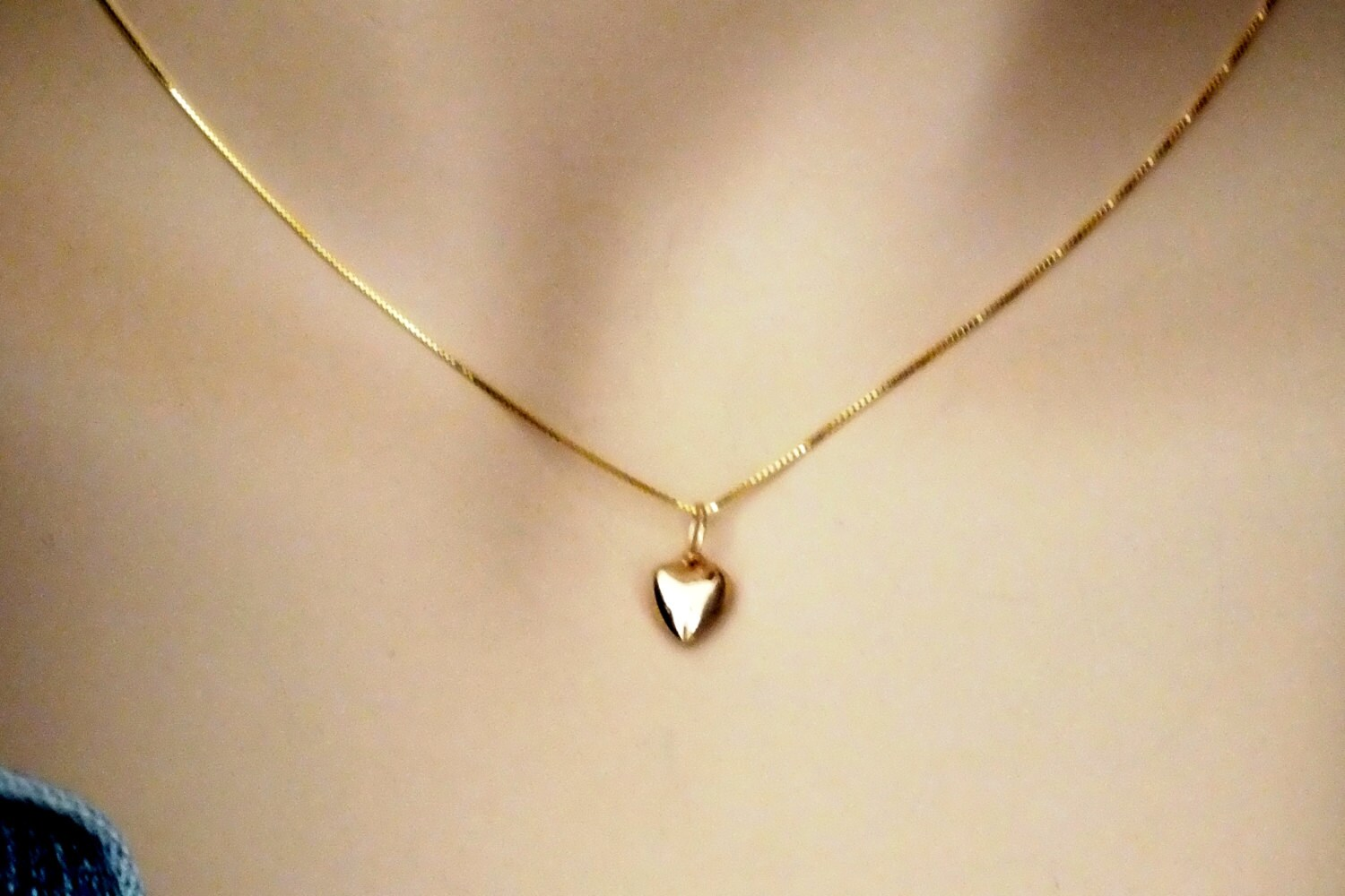 Gold heart necklace tiny solid 14k gold heart necklace 14k zoom mozeypictures Images