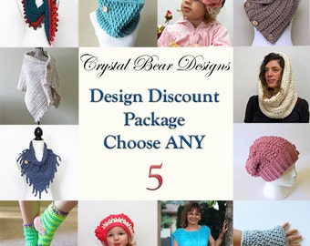 CROCHET PATTERN Discount Package / Pattern Bundle / Quantity Discount / Deal / Choose Any 5