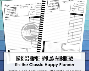 Printable Recipe Planner for Classic Happy Planner, disc bound planner printables. Meal planning and menu plan with recipes books. pdf