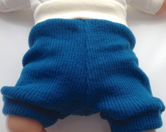 3-12 months - Dark Teal Diaper Cover Wool Shorties - All new rib knit and interlock wool shorts