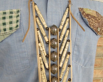 Handmade Newspaper Bead Breastplate with Silver Beads