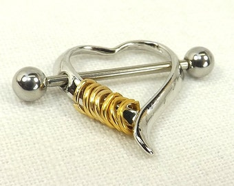 Stacked Rings heart nipple shield nipple barbell surgical stainless steel piercing jewelry fetish jewelry heart nipple rings body jewelry