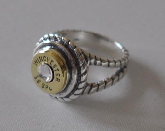Winchester 38 Special Bullet  Ring Sterling Silver 925 Rope Design Swarovski Crystal Custom Made in the USA