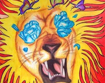 art, fine art, graphite, colored pencil, drawing, illustration, lion, flowers