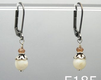 Modern Mother Earrings (Mother of Pearl, Topaz, Gunmetal, and Sterling Silver beads)