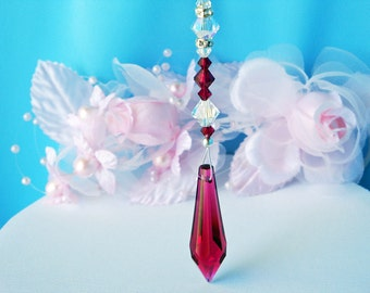 Crystal Rear View Mirror Car Charm Red Swarovski Crystal Car Accessories Rearview Mirror Charm