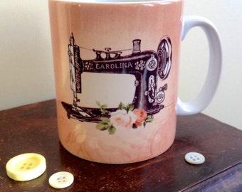 Vintage Inspired Sewing Machine Mug