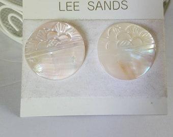 Lee Sands Mother of pearl earrings vintage