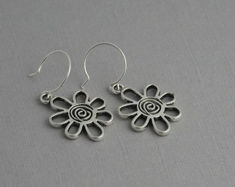Flower earrings, swirly flower, silver earrings
