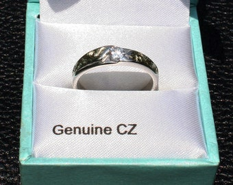 Unique Hand Engraved Sterling Silver Ring (size 8) with a Cubic Zirconia for a Dating, Engagement and Wedding