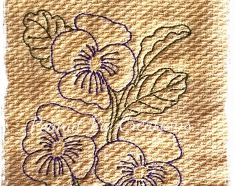 Pansy kitchen towel - Spring - Flowers -Floral - Housewarming - Tea Towel - Birthday - Wedding - New Home