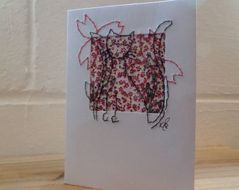 Cat Card, Stitched Card, Greetings card Blank Card, Note Card