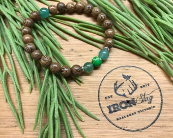Bead Stretch Bracelet (Medium) - Wood and Green