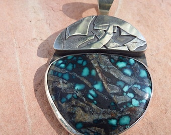 On Sale! Large Turquoise Sterling Pendant /  Southwestern Jewelry /  Sterling Silver Pendant / Gift Woman, Best Friend