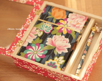 Handmade Japanese kimono fabric journal,hand wrapped chiyogami paper pen,handmade wooden box cover,notebook,diary,gift for her or him