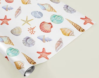 Seashell Wrapping Paper Nautical Beach Shell Gift Wrap Coral Starfish Wrap Destination Wedding Beach Bridal Shower Wrapping Paper 20 x 29
