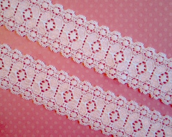 """White Stretch Lace.  1 3/16"""" Width.  3 Yards"""