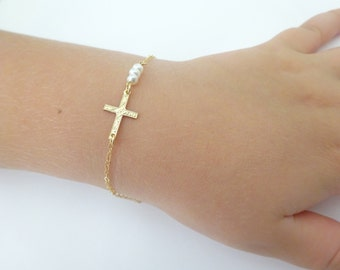 Cross Bracelet, Persoanlized Christening bracelet, Newborn bracelet, baby girl Gemstone gold Filled necklace, Baptisem gift idea
