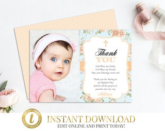 Peach Baptism Thank You, Baptism, Christening, Thank You Card, Peach Thank You Cards, Printable Thank You, Girl Favor, Dedication, Floral..