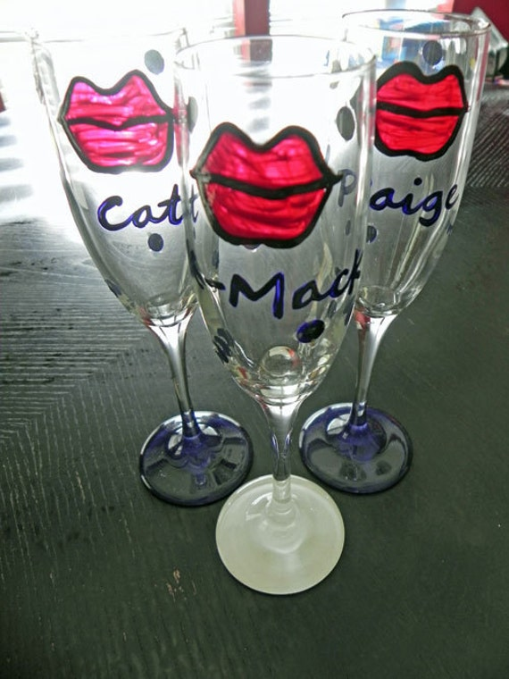 Kiss The Bride champagne flutes
