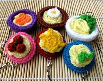 Miniature Crochet Pattern- NOODLES AND SPAGHETTI- Cell Phone Charm  (00341)