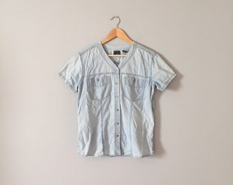 WASHED DENIM top | light blue denim shirt