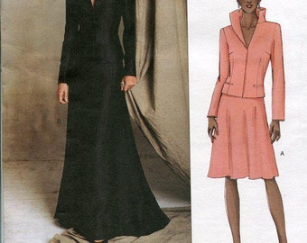 FREE US SHIP Vogue 2607 Designer Guy Laroche Wicked Fashion Jacket Floor length Skirt Size 6 8 10 Bust 30 31 32 Uncut (Last size left)