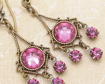 Little Chandelier Earrings with Rose Pink Swarovski Crystal Rhinestones