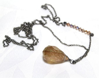 Long Pendant Necklace with a Faceted Rutlated Sparkly Crystal Pendant and Swarovski Crystals