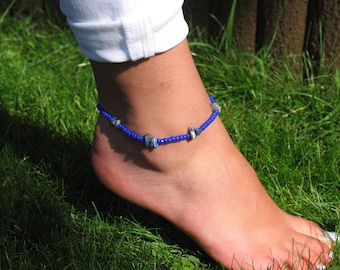 Blue Beaded Chip Stone Anklet / Ankle Bracelet / Beaded Bracelet / Stretch