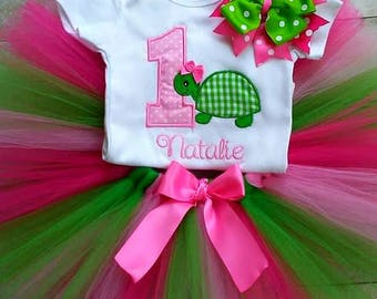 1st Birthday Turtle Tutu Outfit Set, Pink and Green, Cake Smash Outfit