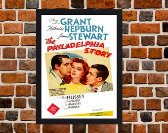 Framed The Philadelphia Story Katharine Hepburn And Cary Grant Movie / Film Poster A3 Size Mounted In Black Or White Frame