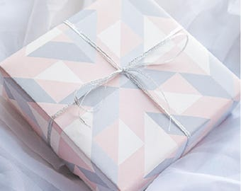 Grey And Pink Geometric Wrapping Paper,Wedding Gift Wrap,Birthday Wrapping,Holiday Gift Wrap
