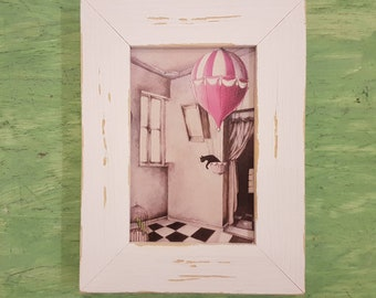 Balloon picture with frame, hot air balloon print, hot air balloon home decor, hot air balloon room decor, children room, home decoration