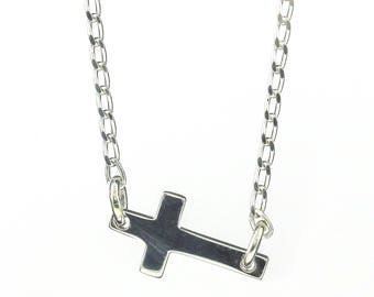 Kelly Ripa Sideways Cross Necklace in Sterling Silver - Tiny Cross Pendant - Horizontal Cross