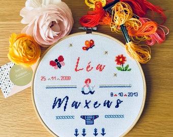 Custom hand embroidered hoop